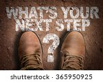 top view of boot on the trail... | Shutterstock . vector #365950925