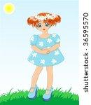 little girl in blue dress in a... | Shutterstock . vector #36595570