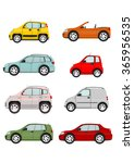 set of cartoon cars on a white... | Shutterstock .eps vector #365956535