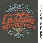 vintage custom motorcycle label.... | Shutterstock .eps vector #365974811