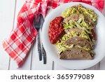 vegan tacos on white wooden... | Shutterstock . vector #365979089
