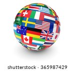 flags of the world on a globe... | Shutterstock . vector #365987429