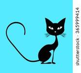Stock vector black cat vector 365999414