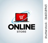 online shop  online store logo. ... | Shutterstock .eps vector #366018965