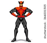 vector superhero posing... | Shutterstock .eps vector #366031505