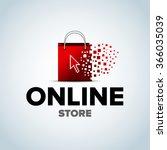 online shop  online store logo. ... | Shutterstock .eps vector #366035039