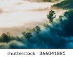 mist. forested mountain slope... | Shutterstock . vector #366041885