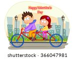 love couple riding on cycle for ... | Shutterstock .eps vector #366047981