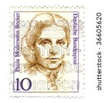 FEDERAL REPUBLIC OF GERMANY - CIRCA 1988: A stamp printed in Germany shows Paula Modersohn-Becker circa 1988. Women in German history series. - stock photo
