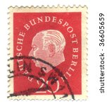 FEDERAL REPUBLIC OF GERMANY - CIRCA 1959: A stamp printed in Germany shows Theodor Heuss circa 1959. - stock photo