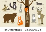 big set of cute forest animals. ... | Shutterstock .eps vector #366064175