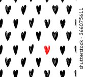 hand drawn hearts black and red ... | Shutterstock .eps vector #366075611