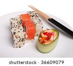 Asian lunch (plate of sushi isolated on the white background) - stock photo