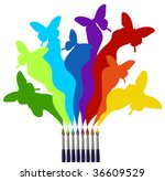 Eight paint brushes drawing a colorful rainbow of a butterfly swarm.  White background - stock vector