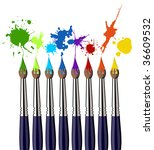 Eight brushes and colorful splattered paint. White background. Vector available - stock vector