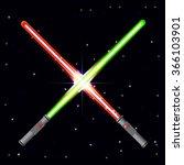 Two light swords on stars background.