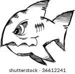 sketchy doodle shark vector... | Shutterstock .eps vector #36612241