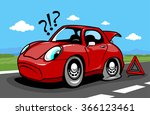 cartoon car on the road with a... | Shutterstock .eps vector #366123461