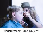 side view of boy gets his hair... | Shutterstock . vector #366132929