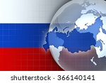 russia map and flag on a world... | Shutterstock . vector #366140141