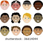 12 boys faces 1. also available ... | Shutterstock .eps vector #36614044