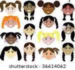 14 girls faces 1. also...   Shutterstock .eps vector #36614062