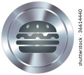 Hamburger icon on round stainless steel modern industrial button - stock vector