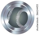 Baseball sport icon on round stainless steel modern industrial button - stock vector