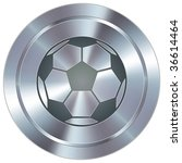 Soccer sport icon on round stainless steel modern industrial button - stock vector