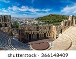 Small photo of Ancient theater in a summer day in Acropolis Greece, Athnes