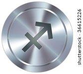 Sagittarius zodiac sign horoscope icon on round stainless steel modern industrial button - stock vector