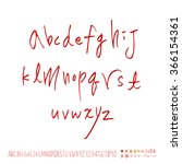hand drawn alphabet   number  ... | Shutterstock .eps vector #366154361