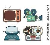 retro tehnology colorfull... | Shutterstock .eps vector #366167645