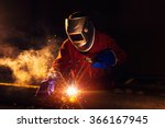 industrial worker at the... | Shutterstock . vector #366167945