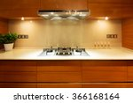 Stock photo design and appliance in luxury kitchen 366168164
