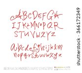 hand drawn alphabet   number  ... | Shutterstock .eps vector #366172349
