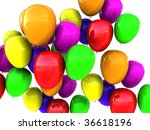 abstract 3d illustration of colorful balloons background - stock photo