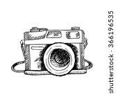 retro photo camera. hand... | Shutterstock .eps vector #366196535