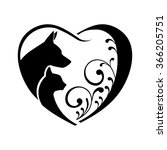 Stock vector dog and cat love heart vector graphic 366205751