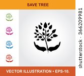 vector icon of save tree with... | Shutterstock .eps vector #366209981