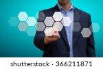 businessman pressing screen... | Shutterstock . vector #366211871