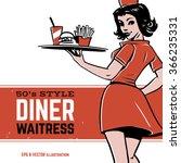 50's diner waitress. drive in... | Shutterstock .eps vector #366235331