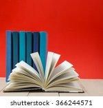 hardback books  diary  fanned... | Shutterstock . vector #366244571