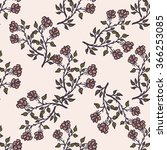 hand drawn wild rose seamless... | Shutterstock .eps vector #366253085