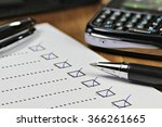 completed checklist in office | Shutterstock . vector #366261665