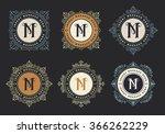 monogram emblem insignia set.... | Shutterstock .eps vector #366262229