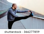 athletic runner doing... | Shutterstock . vector #366277859