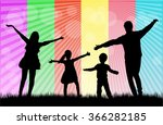 family silhouettes in nature. | Shutterstock .eps vector #366282185