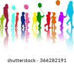 group of children on a walk. | Shutterstock .eps vector #366282191