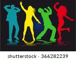 dancing people silhouettes. | Shutterstock .eps vector #366282239
